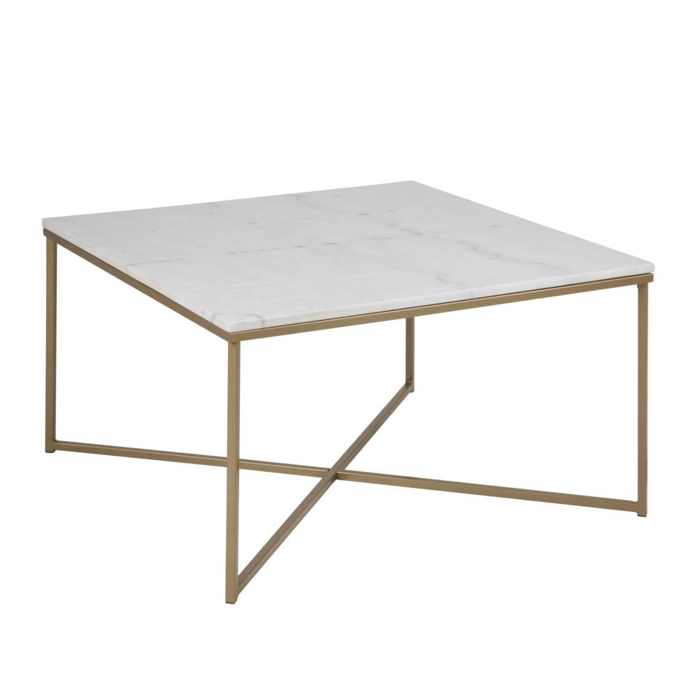 mister FRENKIE Table basse marbre rose métal blanc doré 80x80x46cm