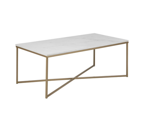 mister FRENKIE Sofabord lyserød marmor hvidguld metal 120x60x46cm
