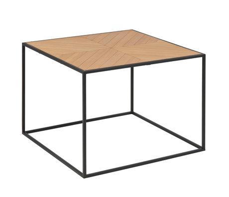 Wonenmetlef Tavolino da salotto Frassino naturale marrone nero legno metallo 60x60x45cm