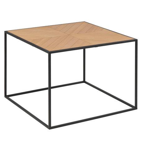 Wonenmetlef Table basse frêne naturel marron noir bois métal 60x60x45cm