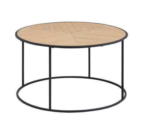 Wonenmetlef Tavolino da salotto Frassino naturale marrone nero metallo legno Ø80x45cm