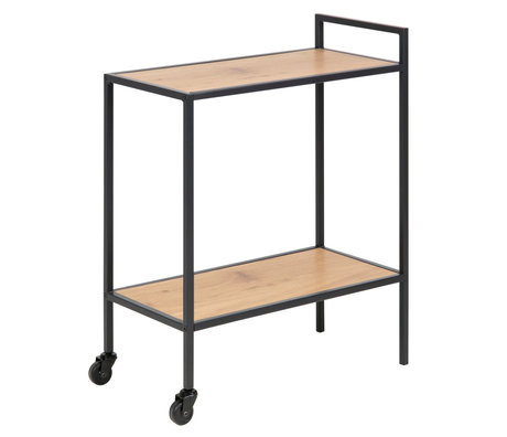 Wonenmetlef Trolley Jenna natural brown black wood metal 60x30x75cm