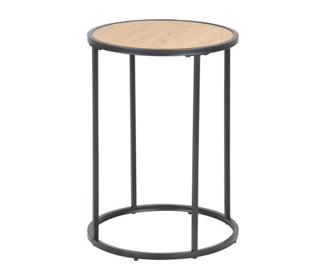 Wonenmetlef Side table Jenna natural brown black wood metal Ø40x55cm