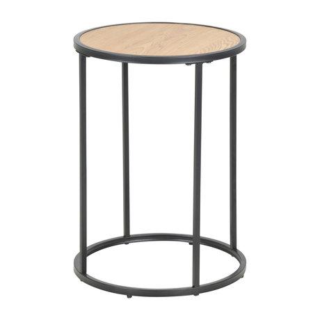 Wonenmetlef Tavolino Jenna naturale marrone legno nero metallo Ø40x55cm