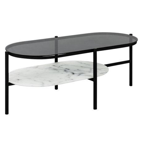 Wonenmetlef Table basse Anna en verre de marbre blanc et noir 115x55,5x45cm
