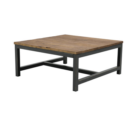 Wonenmetlef Table basse Alex en bois brun antique métal 90x90x40cm