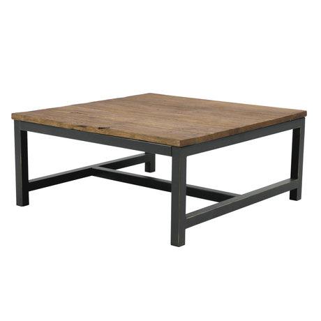 Wonenmetlef Tavolino da salotto Alex antico marrone legno metallo 90x90x40cm