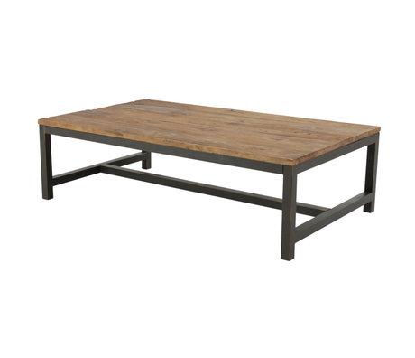 Wonenmetlef Tavolino da salotto Alex antico in metallo marrone legno 120x60x40cm