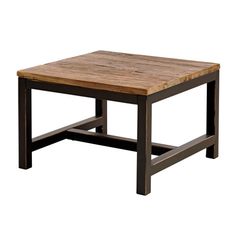 Wonenmetlef Tavolino Alex antico marrone legno metallo 60x60x40cm