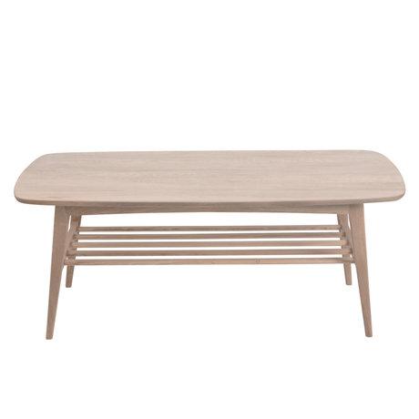 Wonenmetlef Table basse Jolie brune avec bois pigmenté blanc 120x60x47cm