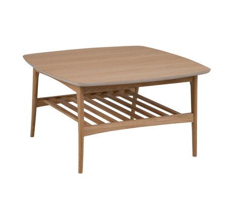 Wonenmetlef Tavolino Jolie in legno naturale marrone 80x80x45cm