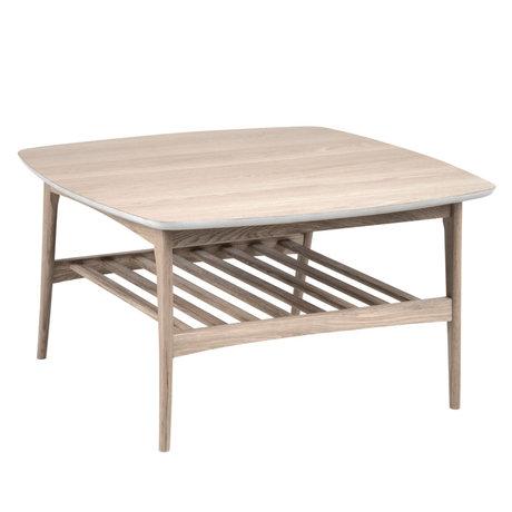 Wonenmetlef Mesa de centro Jolie marrón con pigmento blanco de madera 80x80x45cm