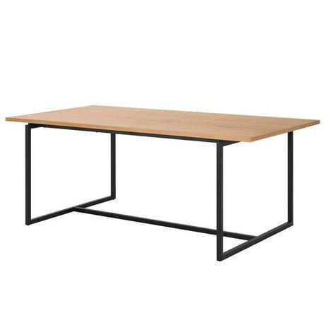 Wonenmetlef Dining table Nola natural brown black wood metal 160x75x75x75cm