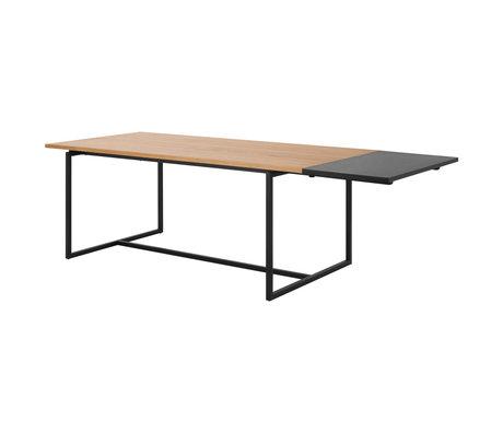 Wonenmetlef Extensión para mesa de comedor Nola negro MDF 50x100x2,5cm