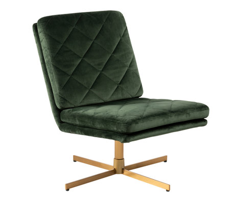 mister FRENKIE Armchair Lynn Forest Green Gold VIC Textile Metal 60x79x87cm