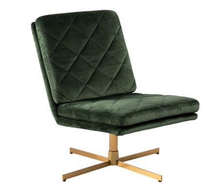 mister FRENKIE Armchair Lynn Forest Green Gold VIC Textile Metal 60x79x87cm