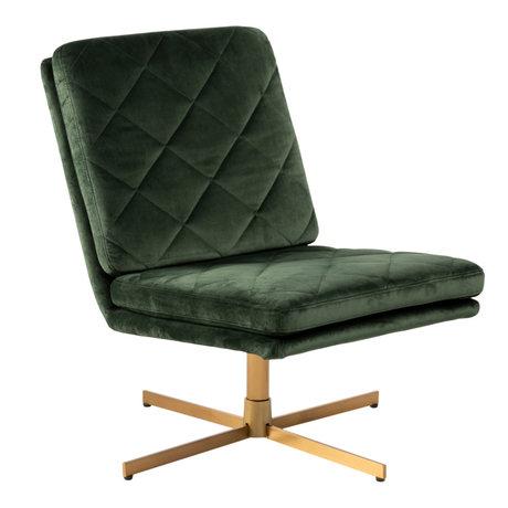 mister FRENKIE Lænestol Lynn Forest Green Guld VIC Textile Metal 60x79x87cm