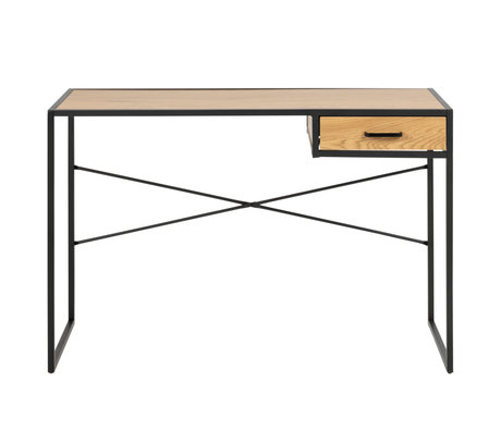 Wonenmetlef Desk with drawer Emmy natural brown black oak wood metal 110x45x75cm