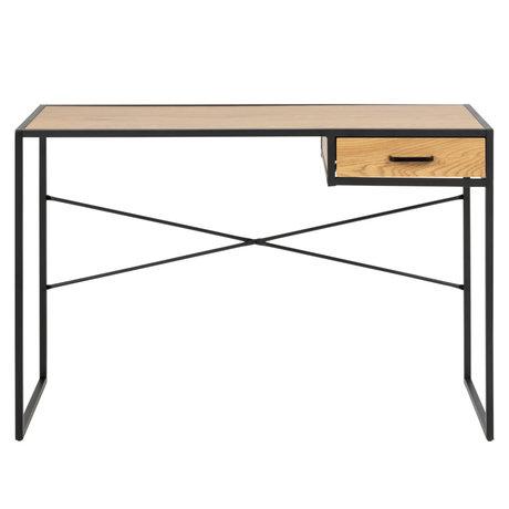 Wonenmetlef Escritorio con cajón Emmy natural marrón negro madera roble 110x45x75cm