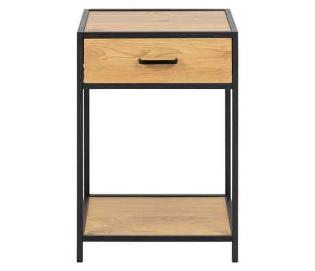Wonenmetlef Bedside table Emmy natural brown black oak wood metal 42x35x63cm