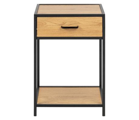 Wonenmetlef Sengebord Emmy naturligt brun sort egetræ metal 42x35x63cm