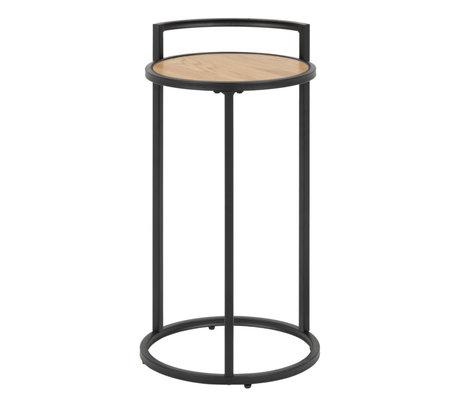 Wonenmetlef Table d'appoint Jenna naturel brun bois noir métal Ø33x65cm