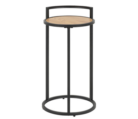Wonenmetlef Tavolino Jenna naturale marrone legno nero metallo Ø33x65cm