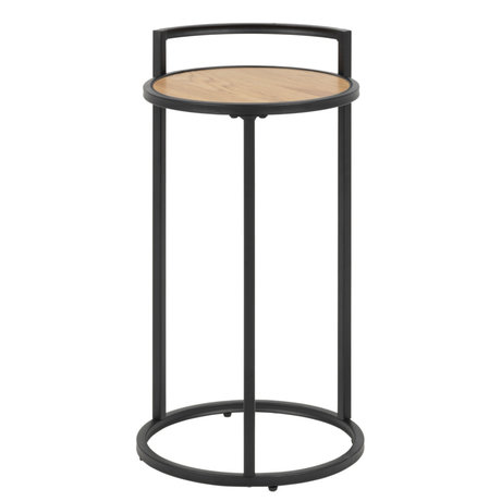 Wonenmetlef Side table Jenna natural brown black wood metal Ø33x65cm