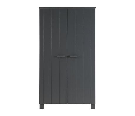 LEF collections DENNIS wardrobe pine, steel gray, 202x111x55cm