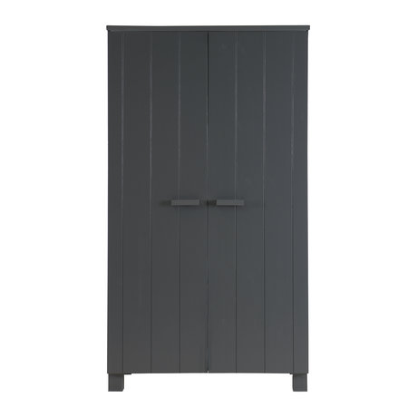 LEF collections DENNIS armadio di pino, grigio acciaio, 202x111x55cm