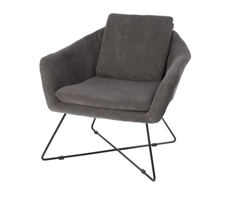 Riverdale Lænestol Ridge grå tekstil 82cm
