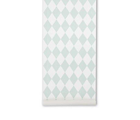 Ferm Living Harlequin menta papel tapiz cuadros verdes 10,05x0,53m