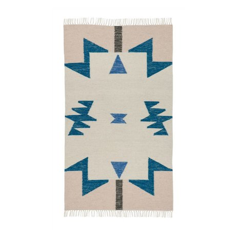 Ferm Living Kilim Tapis bleu Triangles 80x140cm