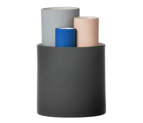 Ferm Living Collect vase ensemble de quatre vases noir gris Ø14,5x19,5cm rose bleue
