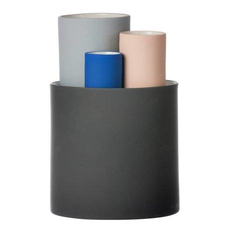 Ferm Living Raccogliere vaso serie di quattro vasi grigio nero rosa Ø14,5x19,5cm blu