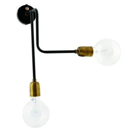 Housedoctor Wandlampe Molecular aus Metall, schwarz/gold, 30x22x45cm