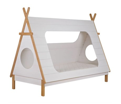 LEF collections Cama Tipi blanco 106x215x163cm pino