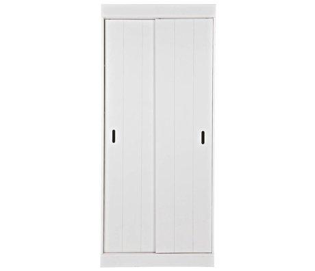 LEF collections Scaffali armadio Row con ante scorrevoli bianco 85x44x195cm pino