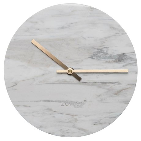 Zuiver Marble clock with gold copper pointers Ø25x4,5cm
