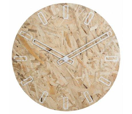 Zuiver OSB orologio pannelli di particelle con le mani bianche Ø50x4,5cm