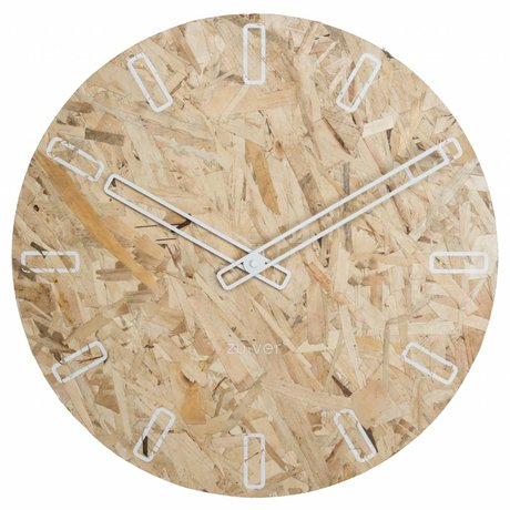 Zuiver OSB particle board clock with white hands Ø50x4,5cm