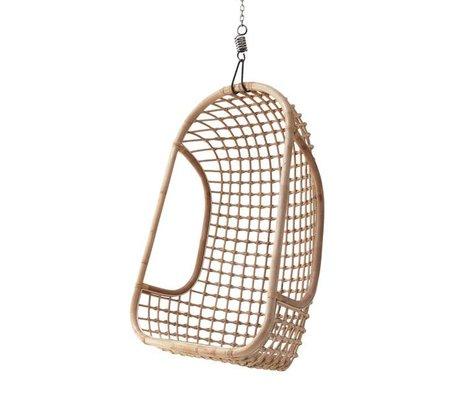 HK-living Hængende stol lavet af rattan, lyse natur, 55x72x110cm