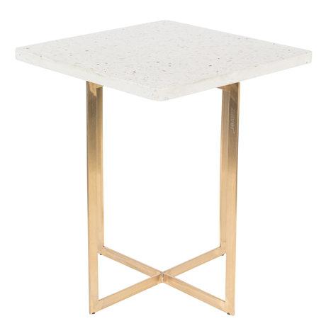 Zuiver Table d'appoint Luigi Square fer blanc terrazo 40x40x45 cm