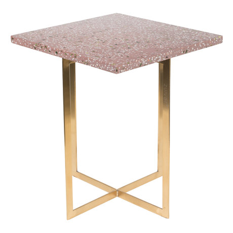 Zuiver Side table Luigi Square dark red Terrazo iron 40x40x45 cm