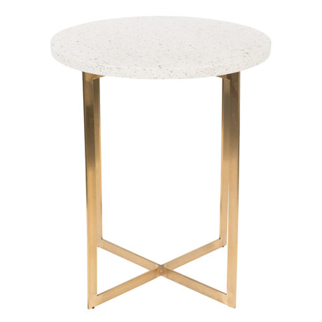 Zuiver Side table Luigi Round white Terrazo iron Ø40x45cm
