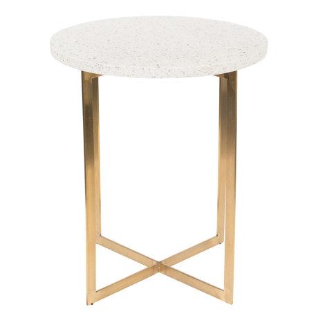 Zuiver Table d'appoint Luigi Round en fer Terrazo blanc Ø40x45cm