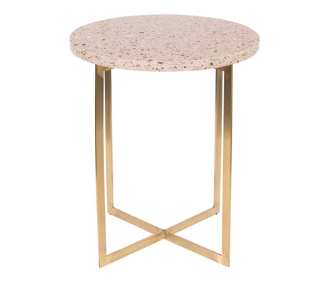 Zuiver Side table Luigi Round pink Terrazo iron Ø40x45cm