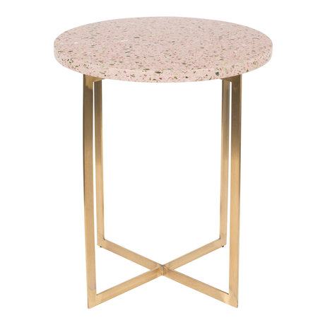 Zuiver Table d'appoint Luigi Ronde en fer Terrazo rose Ø40x45cm