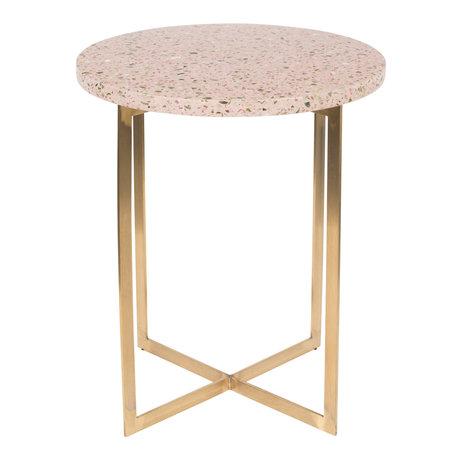 Zuiver Tavolino Luigi Round rosa ferro Terrazo Ø40x45cm