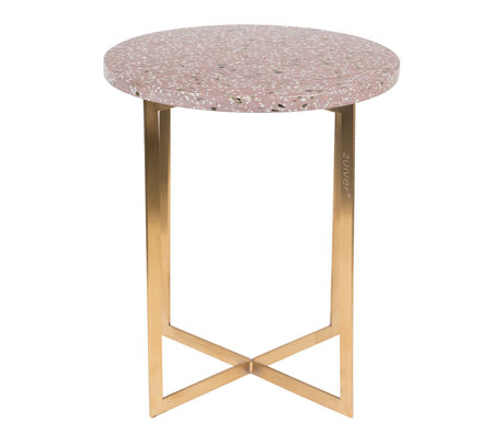 Zuiver Side table Luigi Round dark red Terrazo iron Ø40x45cm